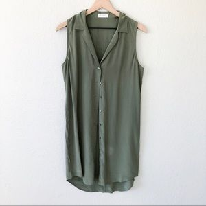 Equipment Silk Sleeveless Olive Button Tunic